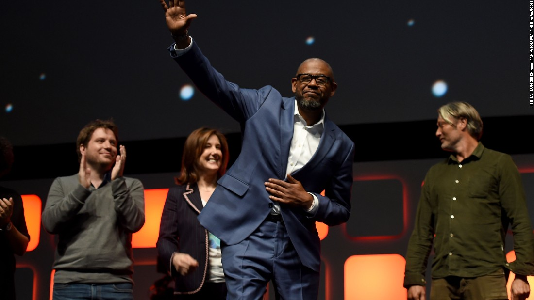 From left, Edwards, Kennedy, Forest Whitaker and Mads Mikkelsen during the panel.