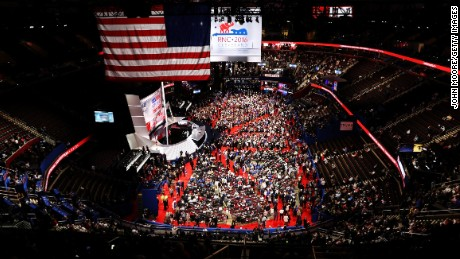 Delegates crowd the convention floor on the first day of the Republican National Convention on July 18, 2016 at the Quicken Loans Arena in Cleveland, Ohio. An estimated 50,000 people are expected in Cleveland, including hundreds of protesters and members of the media. The four-day Republican National Convention kicks off on July 18.