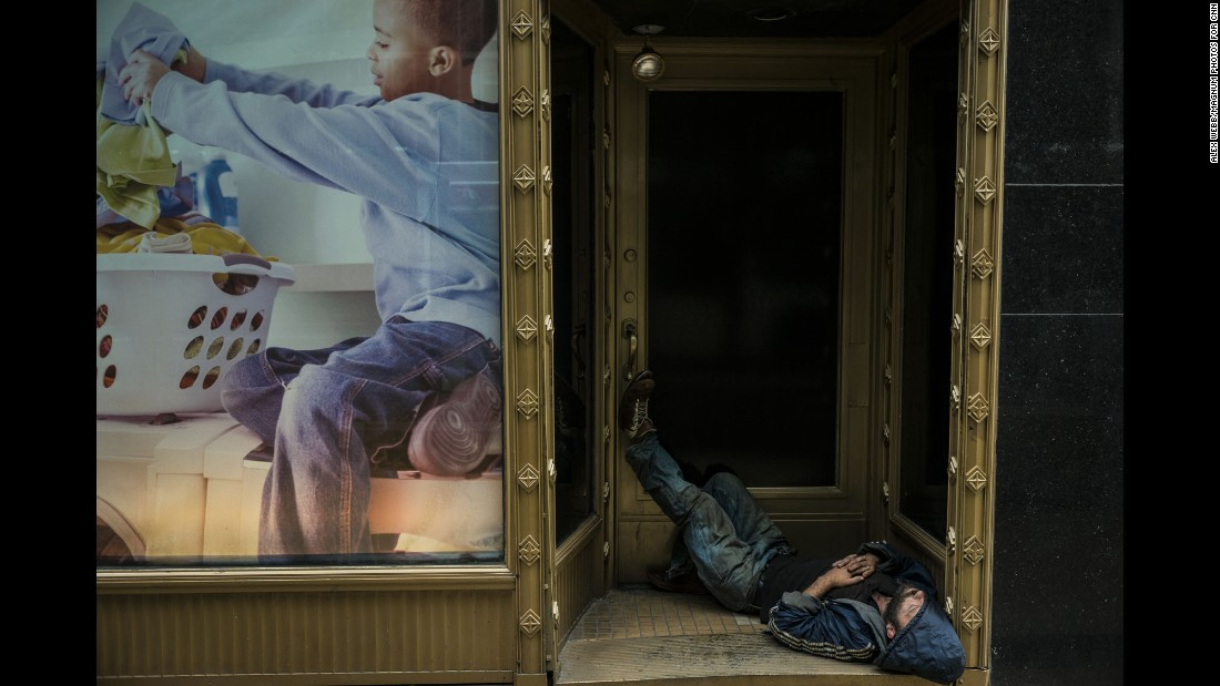 Many homeless people drift through downtown Philadelphia, often sleeping in alcoves.