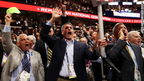 CLEVELAND, OH - JULY 18:  Former Virginia Attorney General Ken Cuccinelli (L) along with other delegates from Virginia chant for a rule call vote on the first day of the Republican National Convention on July 18, 2016 at the Quicken Loans Arena in Cleveland, Ohio. An estimated 50,000 people are expected in Cleveland, including hundreds of protesters and members of the media. The four-day Republican National Convention kicks off on July 18. (Photo by John Moore/Getty Images)