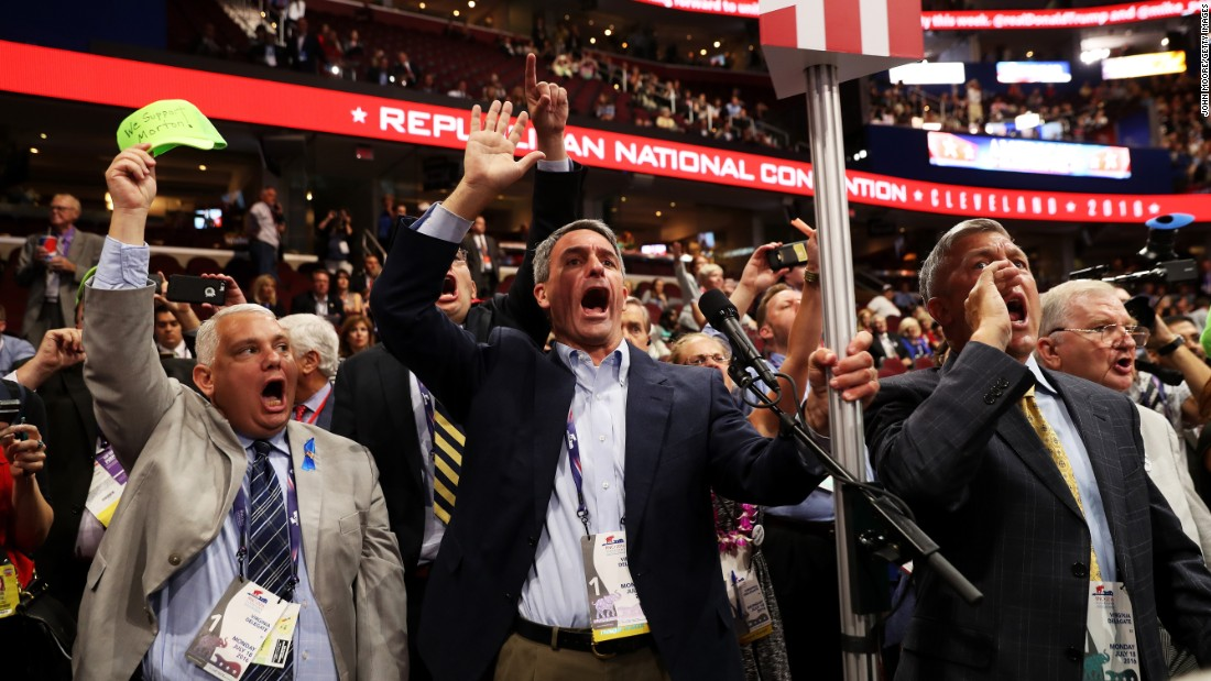 "Former Virginia Attorney General Ken Cuccinelli, center, was among the delegates shouting for a roll call vote Monday on the rules of the Republican National Convention. GOP officials <a href=""http://www.cnn.com/2016/07/18/politics/rnc-procedural-votes-rules-committee/index.html"" target=""_blank"">dismissed the move,</a> saying there were not enough signatures to force a roll call vote. While it's unlikely a roll call vote would have rejected the rules package, it could have been an embarrassing protest vote against Trump and the Republican National Committee."