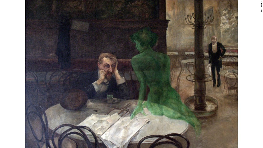"Czech painter and illustrator Oliva was primarily a graphic artist, but his most famous work is a painting that hangs in Café Slavia, one of his favourite haunts, to this day. Called ""Absinthe Drinker"", the painting depicts a man accompanied by the Green Fairy, a manifestation of absinthe and its intoxicating allure. The highly-alcoholic drink was popular in bohemian Paris in the late 19th and early 20th century, James Joyce, Ernest Hemingway and Vincent Van Gogh all supping on the green spirit."