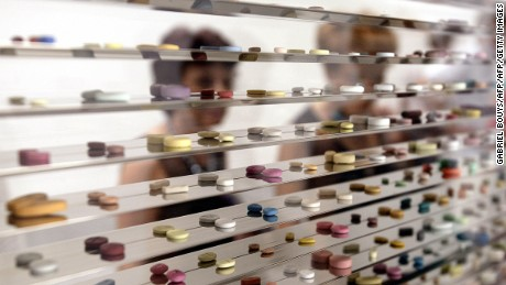 "A close up of the thousands of resin pills that make up Damien Hirst's ""Standing Alone in the Precipice and Overlooking the Arctic Wastelands of Pure Terror"" (1999-2000)."