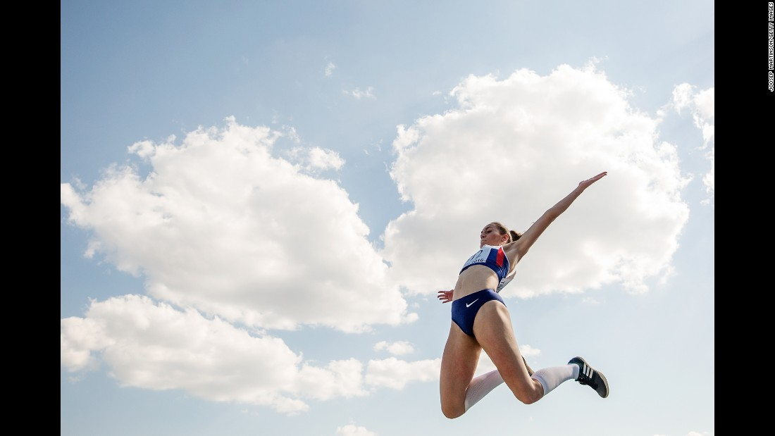British long jumper Holly Mills competes at the European Youth Championships on Sunday, July 17. Mills won the event.
