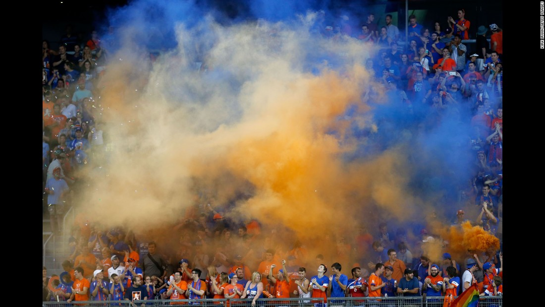 Fans of FC Cincinnati cheer on their soccer team during a home match against England's Crystal Palace on Saturday, July 16.