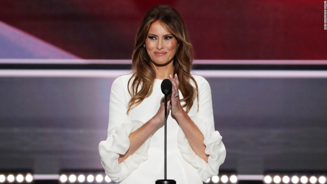 Melania Trump claps during her speech.