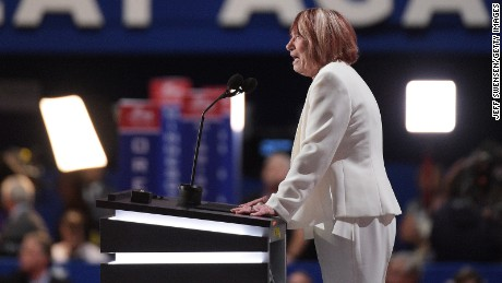 Pat Smith, mother of Sean Smith, one of the four Americans killed in the September 11, 2012 terror attack on the U.S. Consulate in Benghazi, Libya, delivers a speech on the first day of the Republican National Convention on July 18, 2016 in Cleveland, Ohio.
