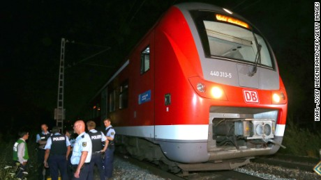 Four people were injured after a man attacked passengers on a train in southern Germany.