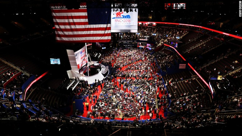 CLEVELAND, OH - JULY 18:  Delegates crowd the convention floor on the first day of the Republican National Convention on July 18, 2016 at the Quicken Loans Arena in Cleveland, Ohio. An estimated 50,000 people are expected in Cleveland, including hundreds of protesters and members of the media. The four-day Republican National Convention kicks off on July 18.  (Photo by John Moore/Getty Images)