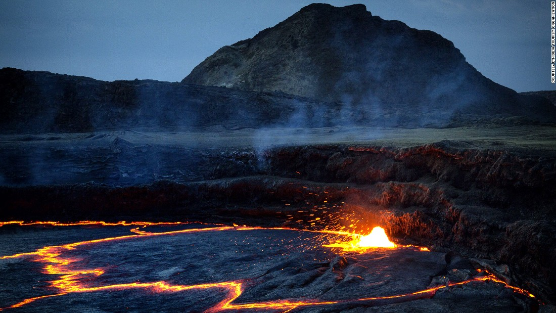 Deep in the Danakil Desert, Erta Ale (Smoking Mountain) is a continuously active volcano and one of only six on the planet with a permanent lava lake. A 10-kilometer trail leads across a volcanic wasteland to the crater rim, where hikers can eyeball nature's own sound and light show before camping overnight.