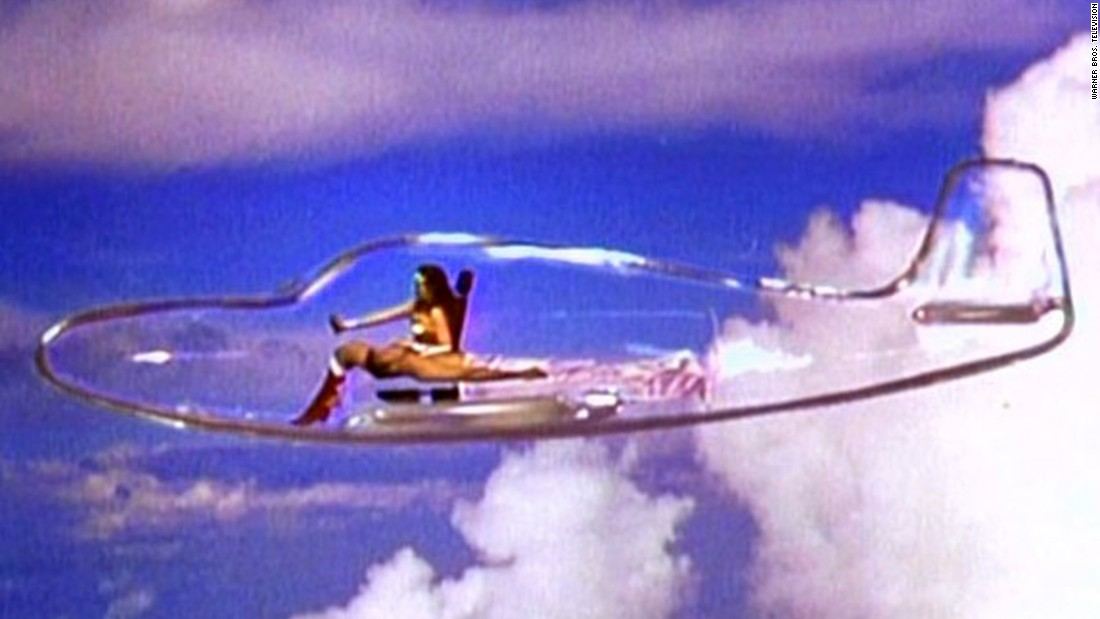 Actress Lynda Carter as Wonder Woman flew her invisible plane in the mid-1970s TV show.