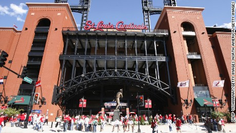 Busch Stadium, home of the St. Louis Cardinals. A former Cardinals executive has been sentenced for hacking into the player database of the Houston Astros.