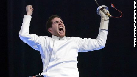 Frances Gauthier Grumier reacts after winning the men's individual epee final match at the European Fencing Championships on June 7, 2015 in Montreux, Switzerland. AFP PHOTO / FABRICE COFFRINI        (Photo credit should read FABRICE COFFRINI/AFP/Getty Images)