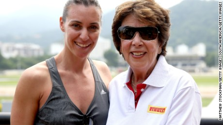 Former WTA Tour player Flavia Pennetta of Italy poses with International Tennis Hall of Fame member Maria Bueno of Brazil during the Rio Open at Jockey Club Brasileiro on February 16, 2016 in Rio de Janeiro, Brazil.