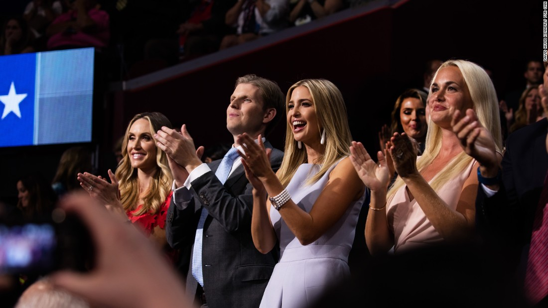 Members of the Trump family watch as Donald Trump Jr. gives his speech.