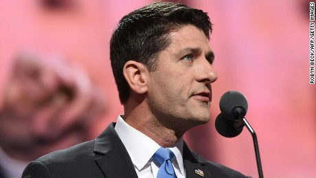 Speaker Paul Ryan addresses the audience on the second day of the Republican National Convention on July 19, 2016 at the Quicken Loans Arena in Cleveland, Ohio.