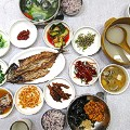 Meonggae (sea squirt) Bibimbap and grilled fish set @Donghae Shikdang
