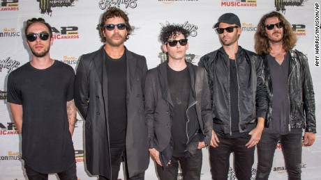 Alex Kopp, from left, Stephan Jenkins, Kryz Reid, Brad Hargreaves, and Alex LeCavalier of Third Eye Blind arrive at the 2016 Journeys AP Music Awards on July 18, 2016, in Columbus, Ohio.