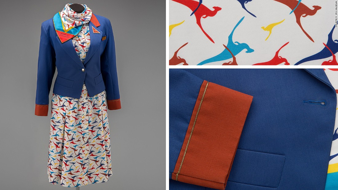 The era of shoulder pads and power suits is celebrated by Yves Saint Laurent in this 1986 jacket-dress combo with kangaroo print for Qantas Airways.