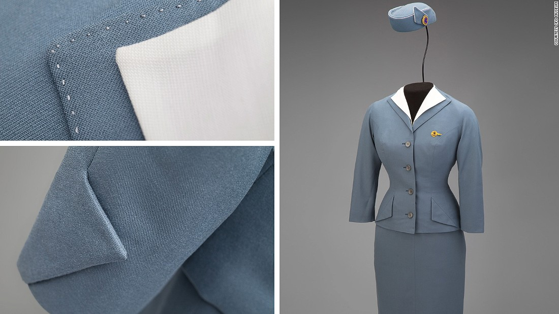 This 1959 piece by Hollywood designer Don Loper for Pan Am celebrates the Jet Age with sharp, angular detailing.