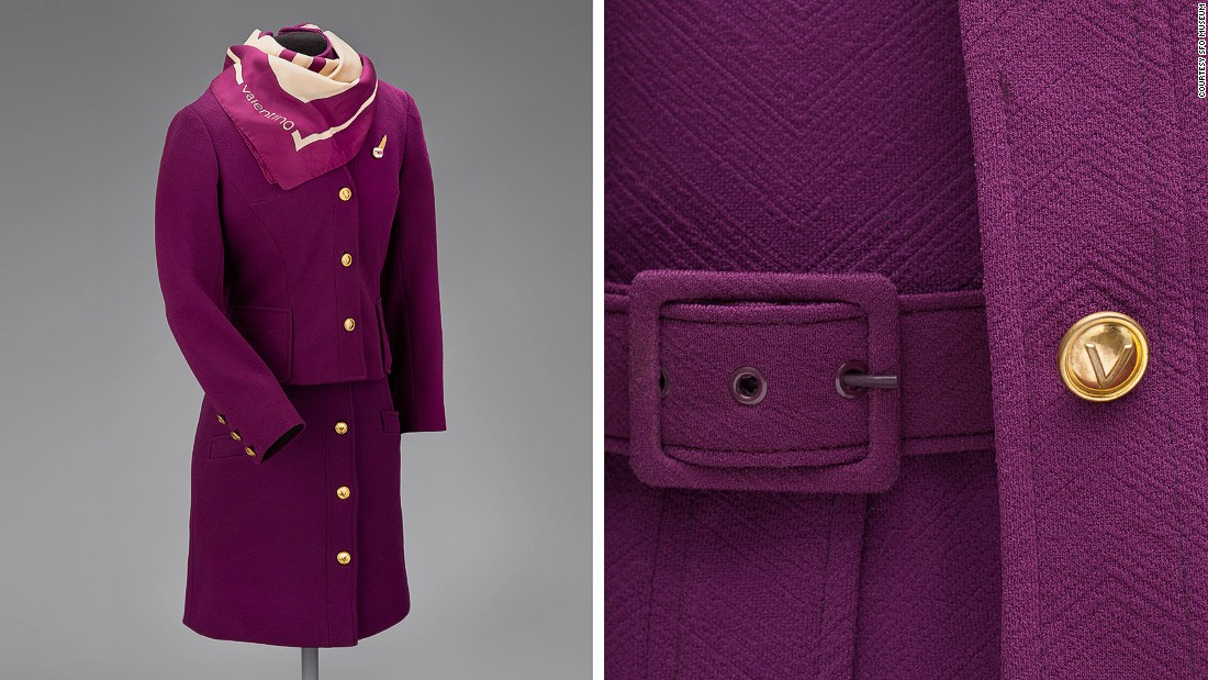 This 1971 polyester knit dress for TWA was designed by Valentino -- just in case you missed the branding on the scarf.