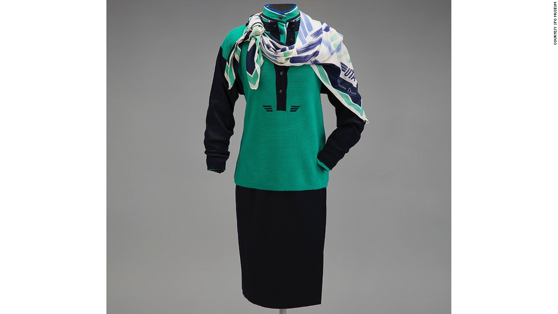 This uniform created by the House of Dior is all about the polyester midi-skirt and the power dressing of the 1980s. It was worn by Union de Transport Aeriens attendants in 1987.