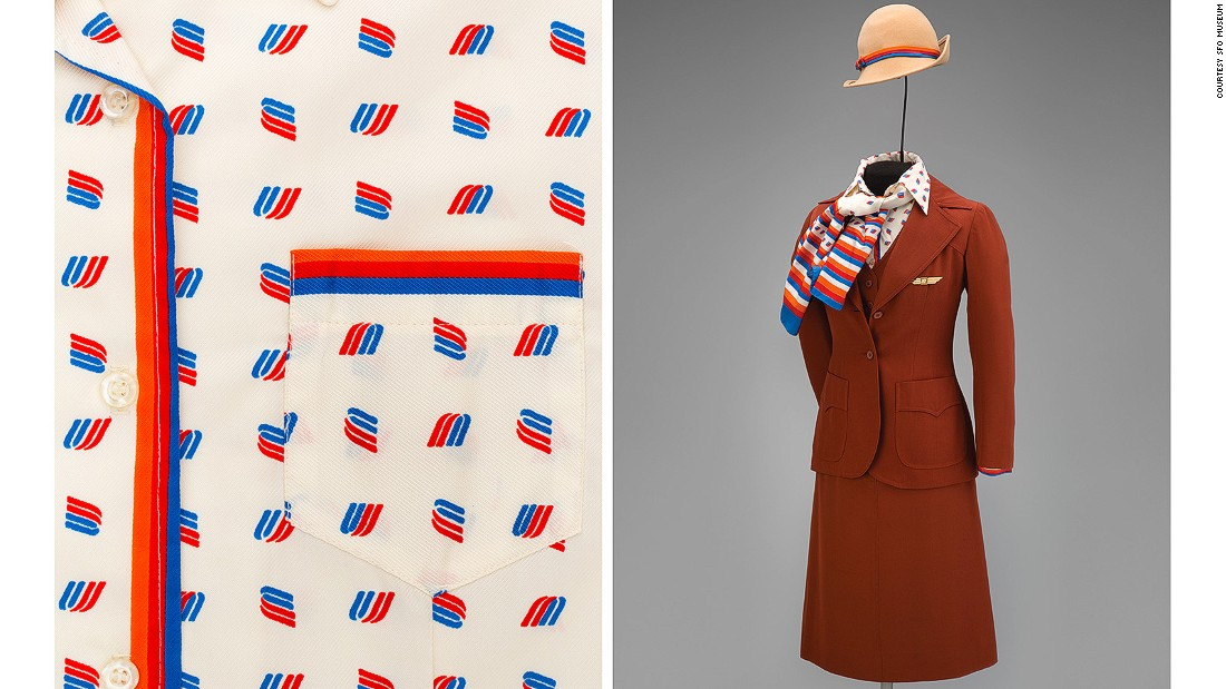 This polyester three-piece suit from 1976 had a Western flavor and a blouse checkered with the United Airlines logo.