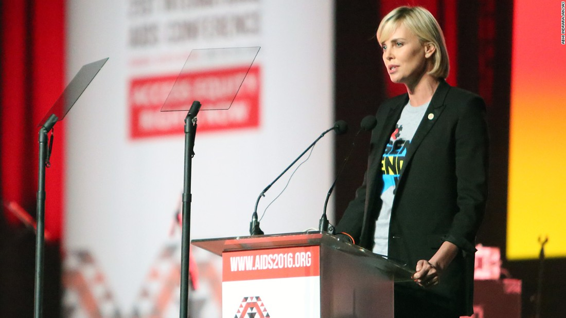 Charlize Theron speaks at official opening of the 21st International AIDS Conference (AIDS 2016), Durban, South Africa on July 18.