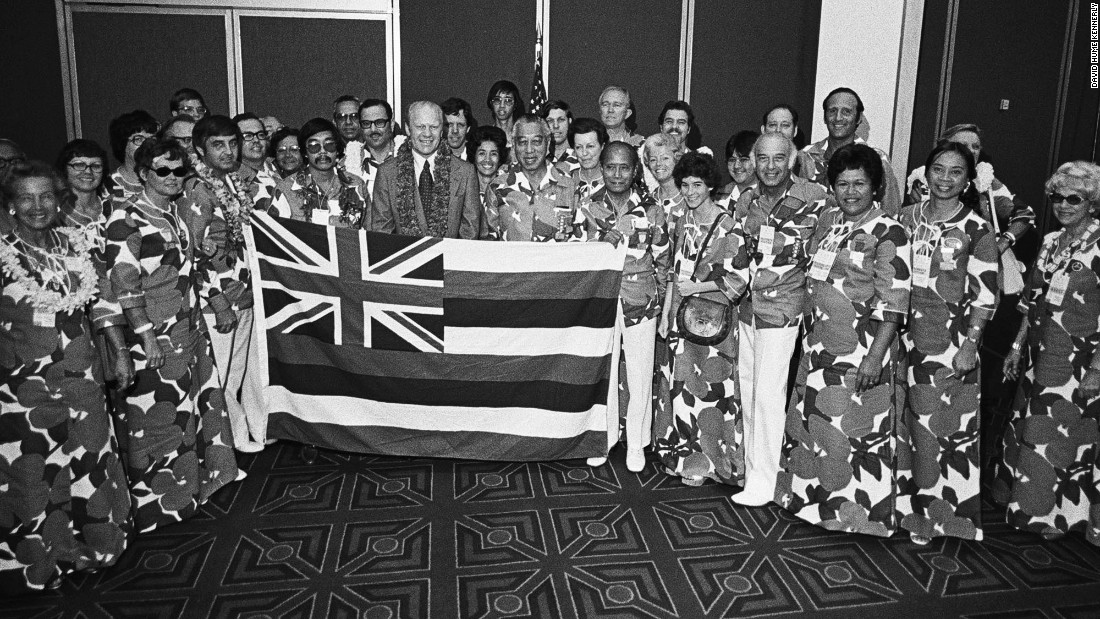 Ford meets with the Hawaiian delegation. His advantage, Kennerly said, were the perks of power, such as Air Force One and invitations to state dinners.