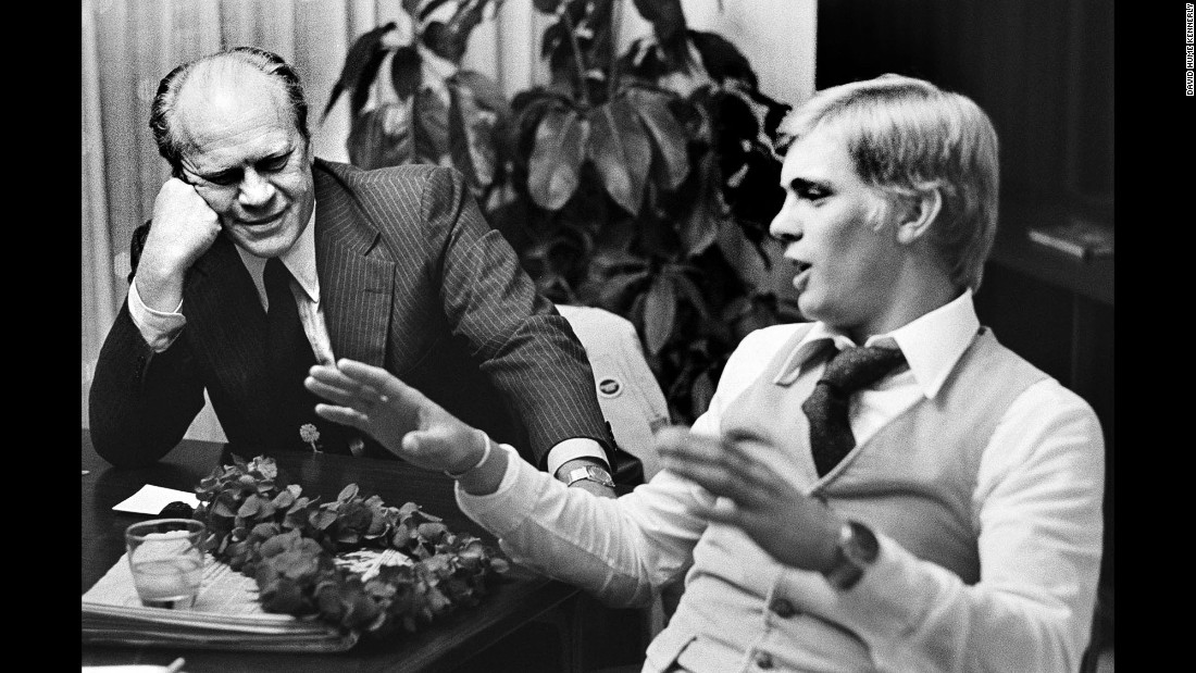 "Ford and his son Steve talk strategy. ""The thing I remember most about the convention was that President Ford had his family there,"" Kennerly said. ""Everybody was really involved. His kids were going out and lobbying delegates themselves. It was kind of a family affair."""