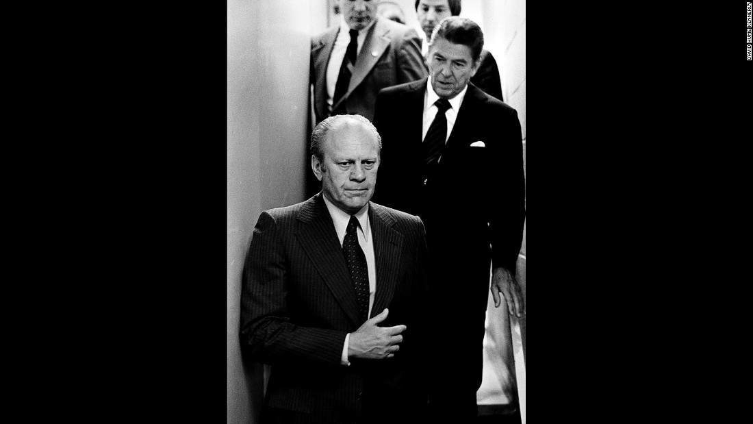 "Ford and Reagan head to a news conference after Ford won the nomination. ""Ford had been unhappy that Reagan ran against an incumbent president, and it shows in this picture,"" Kennerly said."