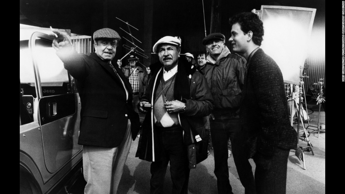 "From left, Jackie Gleason, Alonzo, Marshall and Tom Hanks work on the set of ""Nothing in Common"" in 1986."
