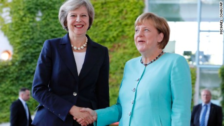 German Chancellor Angela Merkel welcomes British Prime Minister Theresa May in Berlin.