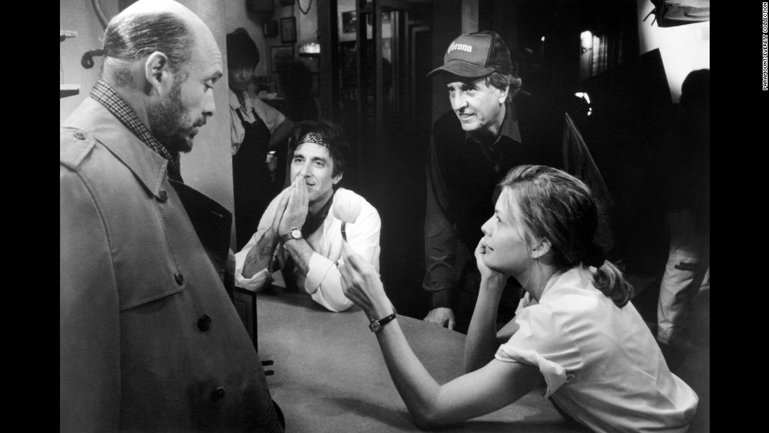 "From left, Hector Elizondo, Al Pacino, Marshall and Michelle Pfeiffer work on the set of ""Frankie and Johnny"" in 1991."