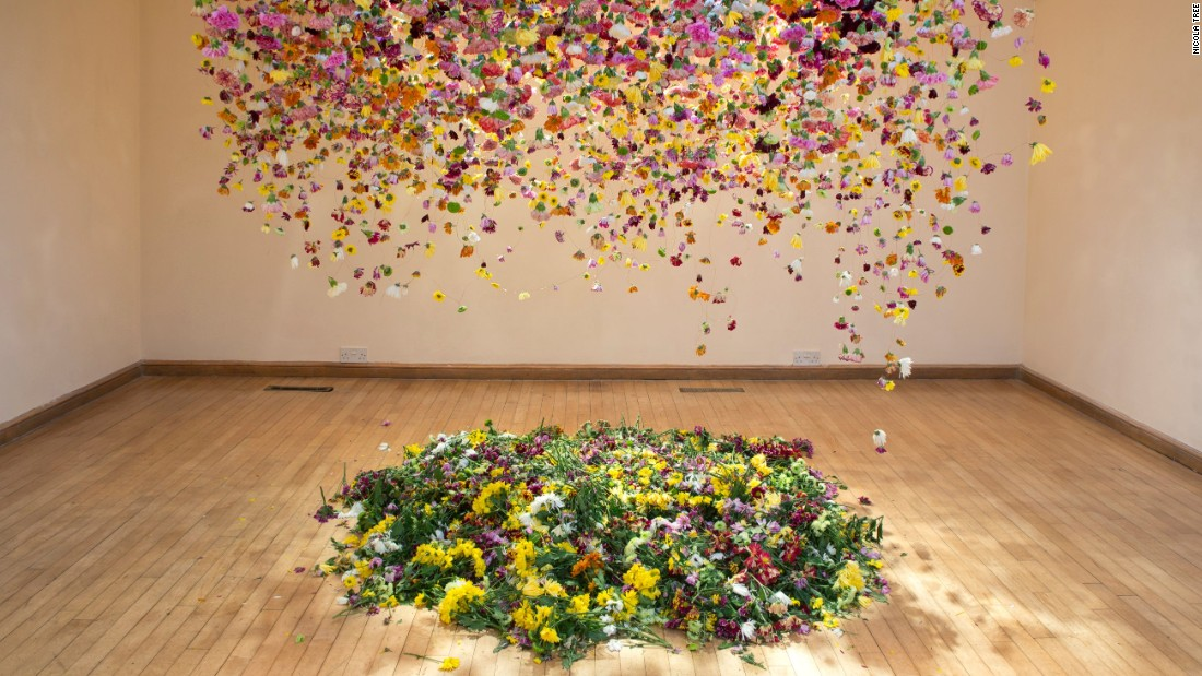 Law says that by only using cultivated flowers grown near the site of her installations, she gets a great insight into the trends and fads of the flower industry -- largely dictated by the buying trends of everyday consumers.