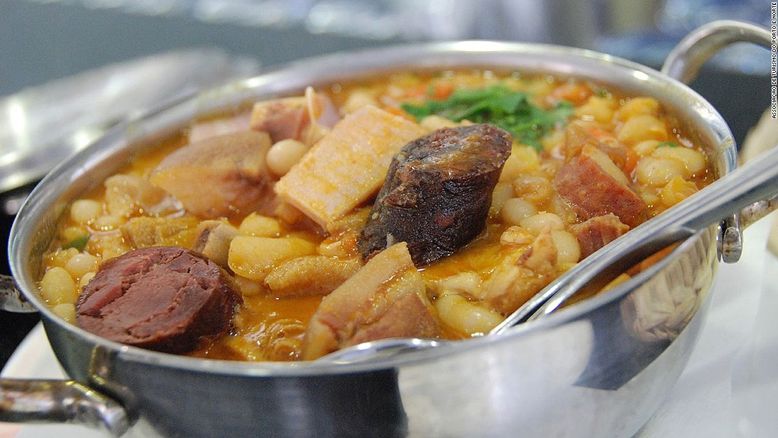 Lamprey (parasitic, eel-like river critters), papas de sarrabulho (pork innards in blood) and alheiras com grelos (wonderful smoked sausages served with broccoli raab) are some of the delicacies of the Douro region. In the picture is a tripe and white bean stew, a Porto specialty.