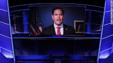 A video of Sen. Marco Rubio (R-FL) delivering a speech is displayed during the third day of the Republican National Convention on July 20, 2016 at the Quicken Loans Arena in Cleveland, Ohio. Republican presidential candidate Donald Trump received the number of votes needed to secure the party's nomination. An estimated 50,000 people are expected in Cleveland, including hundreds of protesters and members of the media. The four-day Republican National Convention kicked off on July 18.