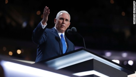 Republican Vice Presidential Nominee Gov. Mike Pence of Indiana speaks during the third day session of the Republican National Convention in Cleveland, Wednesday, July 20, 2016.
