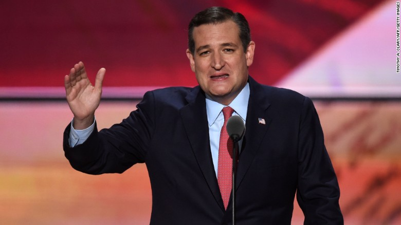 US Senator Ted Cruz of Texas speaks on the third day of the Republican National Convention in Cleveland, Ohio, on July 20, 2016.