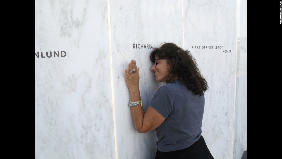 """In September, Lori Guadagno (pictured here) and I headed to one of America's relatively new national parks, one entrusted with telling part of the story of 9/11 and preserving the site of the United 93 crash,"" wrote Woods. ""Lori's brother, Richard Guadagno, was on United Flight 93. He was a U.S. Fish & Wildlife ranger who devoted his life to preserving and protecting natural places.""<br />"