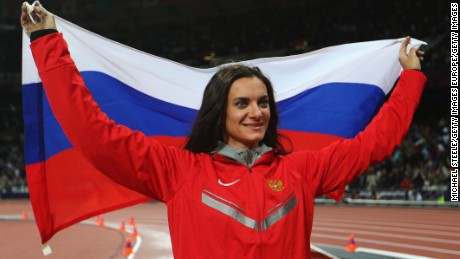 LONDON, ENGLAND - AUGUST 06:  Elena Isinbaeva of Russia celebrates after winning the bronze medal in the Women's Pole Vault final on Day 10 of the London 2012 Olympic Games at the Olympic Stadium on August 6, 2012 in London, England.  (Photo by Michael Steele/Getty Images)