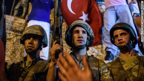 Turkish solders at Taksim Square in Istanbul on July 16, the day after a failed military coup.
