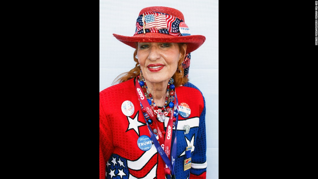 Delegate Trisha Bowler shows off her colorful ensemble.