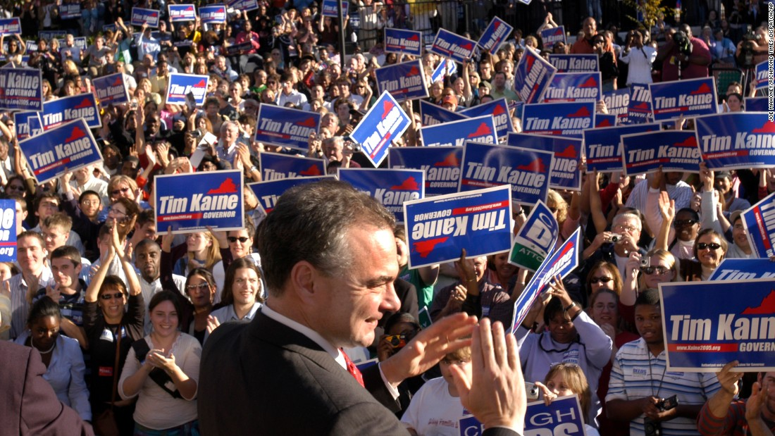 Kaine attends a campaign rally in Richmond in 2005.