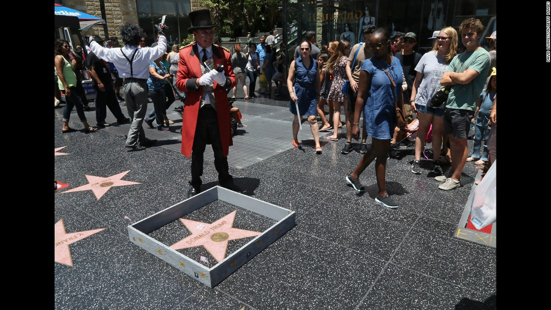 "A tiny wall <a href=""http://www.cnn.com/2016/07/20/politics/donald-trump-hollywood-walk-of-fame-star/index.html"" target=""_blank"">was placed around Donald Trump's star</a> on the Hollywood Walk of Fame on Tuesday, July 19, the day he became the Republican Party's presidential nominee. The wall, complete with barbed wire and ""Keep Out"" signs, was constructed by popular Los Angeles street artist Plastic Jesus. The wall alludes to one of Trump's most controversial proposals -- the erection of a wall at the U.S./Mexico border."