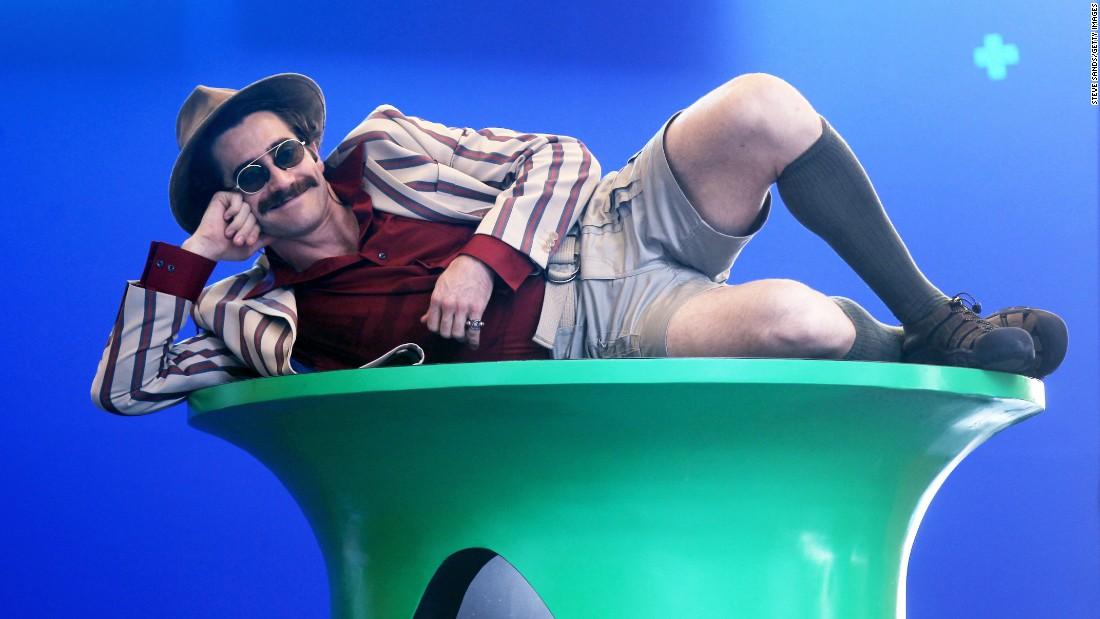 "Actor Jake Gyllenhaal films the movie ""Okja"" in New York on Saturday, July 16."