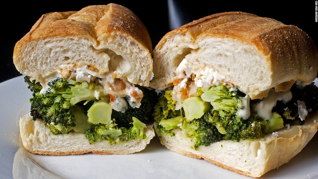 No. 7's Broccoli Classic features roasted broccoli, feta cheese, fried shallots, mayo and a touch of lychee.