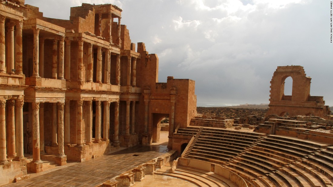 Five World Heritage Sites in Libya (including Sabratha, pictured) have been placed on UNESCO's list of locations in danger, the organization citing conflict in the region.