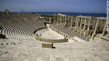 File photograph of the amphitheatre at Leptis Magna, located in the Libyan coastal city of Lebda.