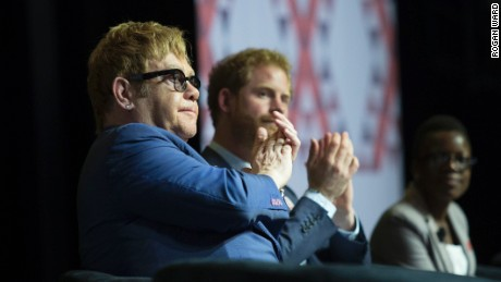 Prince Harry and Elton John at AIDS 2016